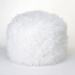 """FUZZY WHITE OTTOMAN FOOTSTOOL - free shipping! What a heavenly way to rest your feet! Increase your home's cozy factor instantly with this fuzzy white ottoman, and watch as friends, family, and even pets are drawn to its cloud-like comfort.  Item weight: 2 lbs. 19"""" x 19"""" x 11 3/4"""" high. Polyester and polystyrene. Spot clean only.  Package - 1 EA"""