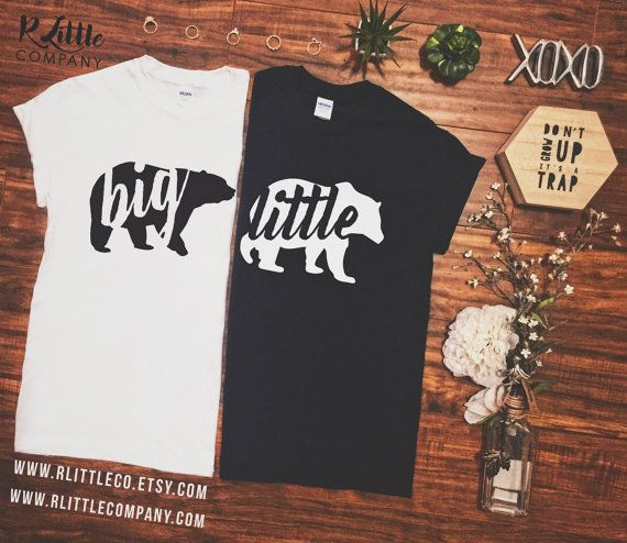 Big Bear Little Bear Family Gold + Gold Glitter + B&W Vinyl - Sorority Fam - Unisex Tees S-XXL - Big Little Shirts // Big Little Reveal // Sorority // Big and Little