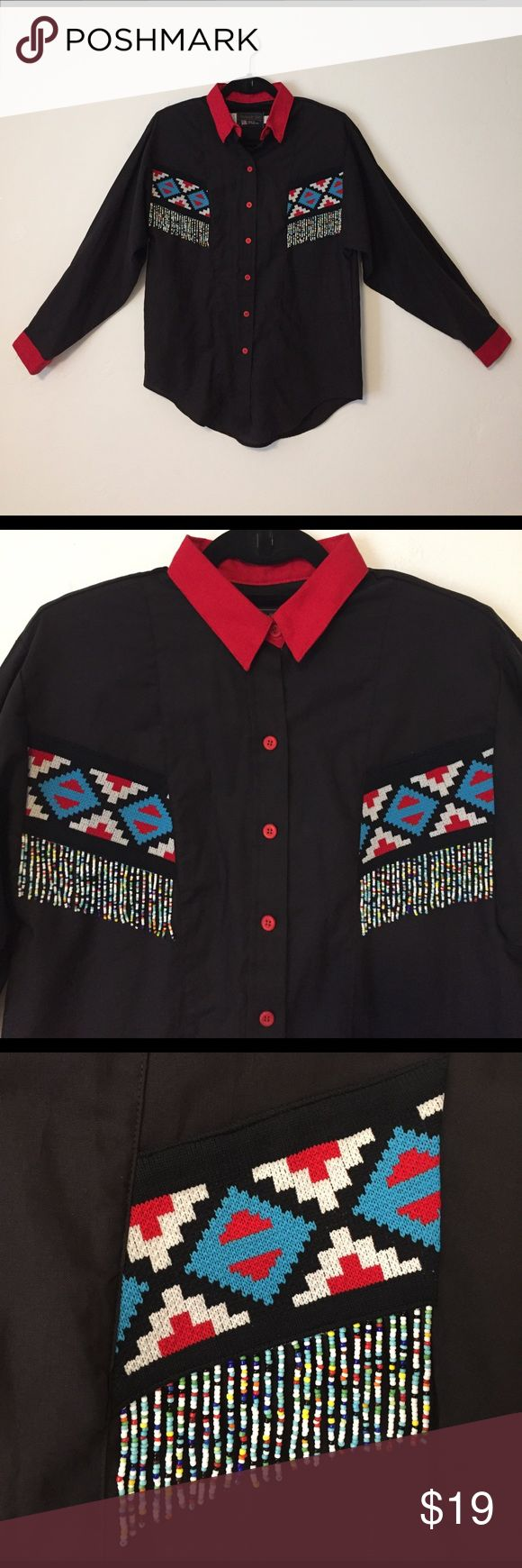 "VINTAGE WESTERN Rare Bead Fringe Embroidered Shirt Mint condition👌🏼PANHANDLE SLIM brand authentic button down with Native American style beaded fringe and embroidery 🙌🏼 Get your cowgirl rodeo star on ⭐️ Great for the authentic western style chic OR Halloween theme night. Women's Small. Measures 20"" armpit to armpit; 28"" top shoulder to bottom hem; 22.5"" sleeve length. 100% Cotton to keep you cool when you're rootin' tootin' square dancin' gets you all hot and out of sorts✨ Machine…"