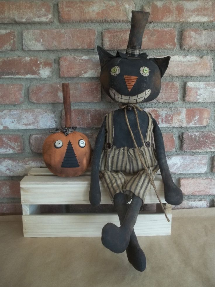 Primitive Grungy Halloween Cat Doll and His Pumpkin | eBay