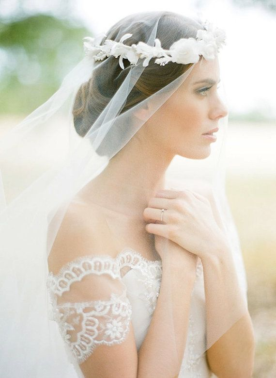 Blair Bridal drop veil, fingertip wedding veil in ivory or white by Percy Handmade. Photography by Jemma Keech