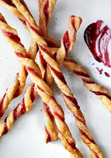 Jam Straws. Puff pastry, your favorite jam, cinnamon and sugar. One of Oprah's 'desserts to give thanks for'.
