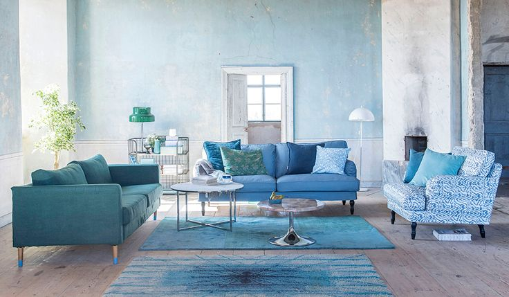 Stocksund 3 seater Steel Blue Panama Cotton