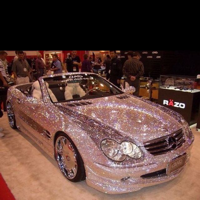 A Swarovski Crystal Bedazzled Mercedes SL Convertible