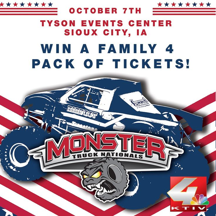 KTIV is giving away 4 tickets to the Monster Truck Nationals October 7th at the Tyson Events Center. Enter now for your chance to win!