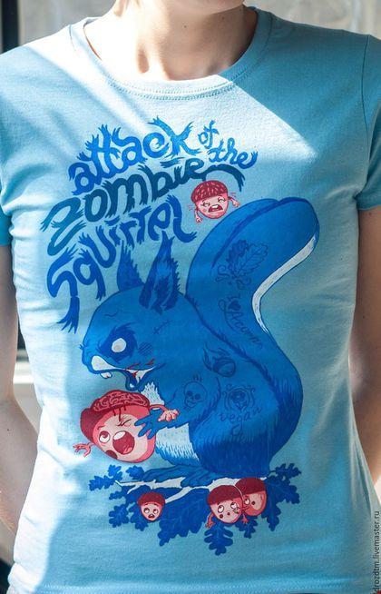 """Купить Смешная футболка ручной росписи """"Зомби белка"""" - голубой, белка, зомби, футболка"""
