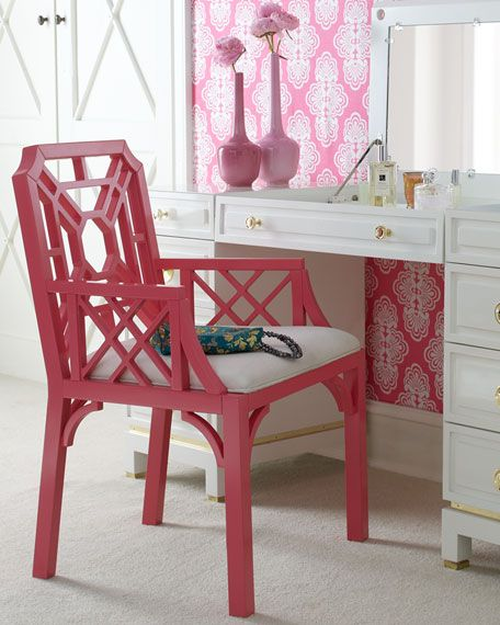 Lily Pulitzer Armchair.Desks Chairs, Lilly Pulitzer, Girls Room, Pink Chairs, Lilies Pulitzer, Hot Pink, Accent Chairs, Painting Chairs, Neiman Marcus