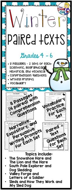 Winter Paired Texts targets reading comprehension using two different texts, (fiction and nonfiction) on the same themed topic. This 82 page packet is loaded with 8 winter passages (4 sets of paired texts) including 2 historical, 2 scientific, 2 biographical, and 2 technical pieces. There are vocabulary practice pages, and double sided paired text worksheets to refer to both texts. Plus three writing prompts (narrative, expository and persuasive) for each set.
