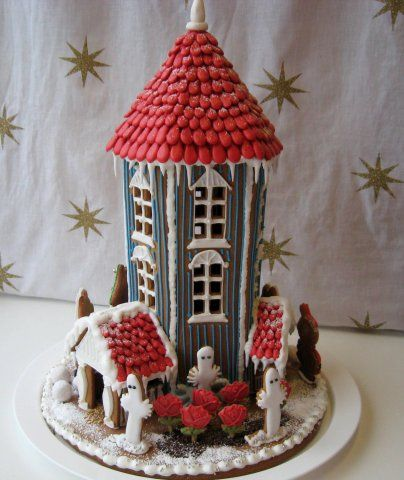 Moomin gingerbread house with Hattifatteners!! I didn't know anyone else knew these books. :)