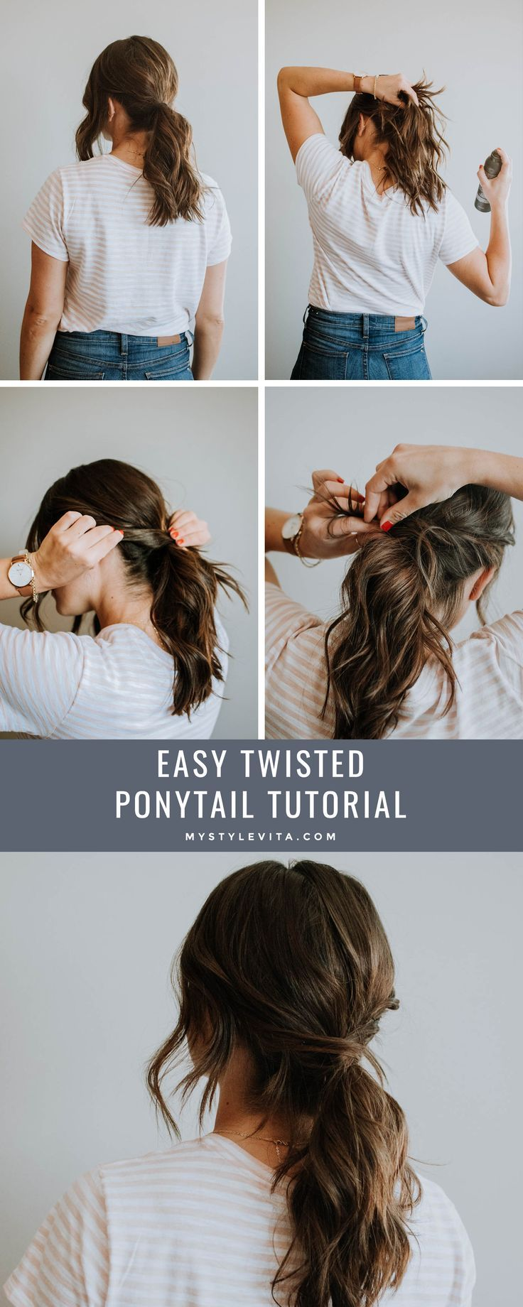 An Easy Twisted Ponytail Tutorial For Long Hair Twisted Ponytail For Short Hair Short Hairstyle I Hair Ponytail Styles Low Ponytail Hairstyles Twist Ponytail