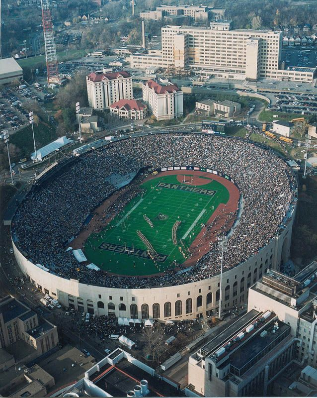 Pitt Stadium I saw my first Steeler game there and saw the 1976 National Champion Pitt Panthers there my freshman year. The website I took this picture from has great aerial shots of a lot of stadiums.