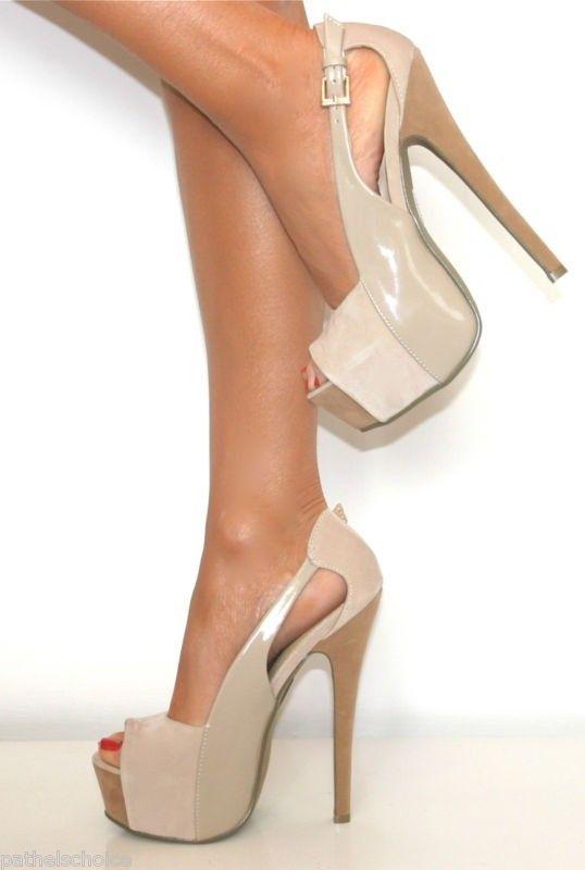 Nude high heel shoes.