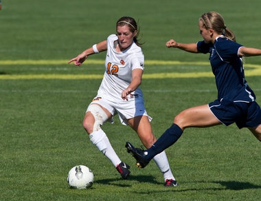 Chelsea Buckland making her way up the field