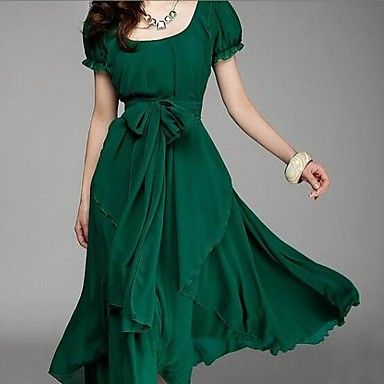 Women's Round Collar Puff Sleeve Pleated Swing Dress with Self-belt – USD $ 52.99