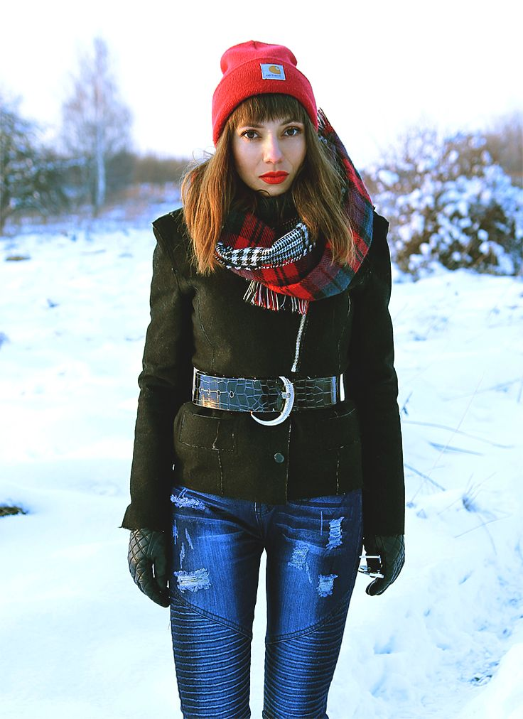 wool jacket, red carhartt beanie, plaid scarf and jeans with stitching