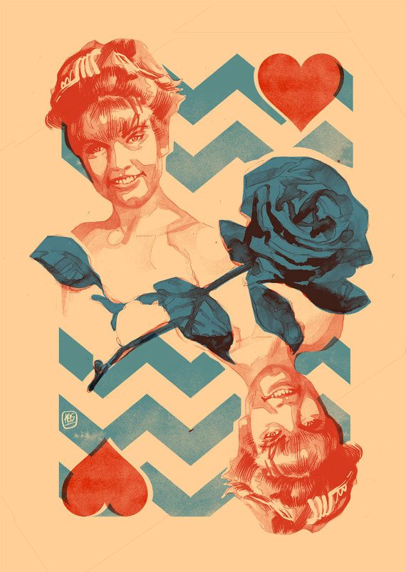 Twin Peaks: Laura Palmer Queen of Hearts Print by KimThompsonArt