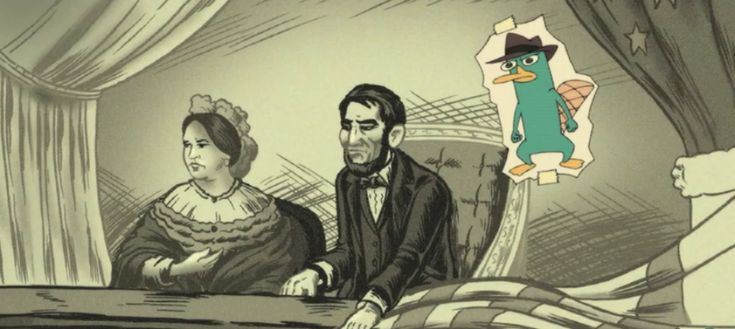 Perry on his mission to assasinate US President Abraham Lincoln.