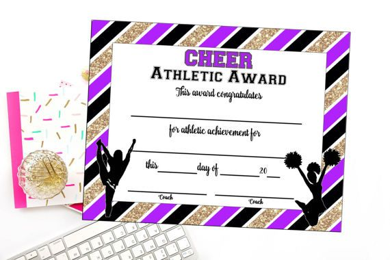 $6.00  INSTANT DOWNLOAD - Cheerleading Certificate - Cheerleading Award - Cheerleading Printable - Cheerleading Achievement - End of Season Award. #cheerleading #ad