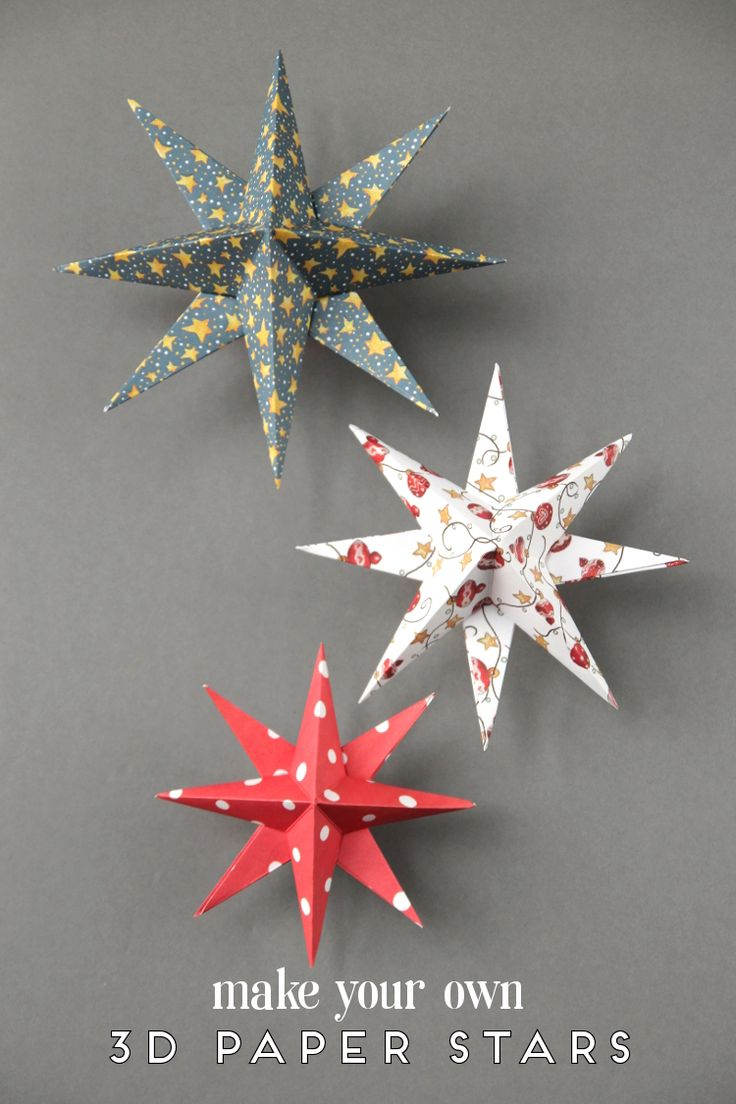 MAKE YOUR OWN DIY 3D PAPER STAR CHRISTMAS DECORATIONS.