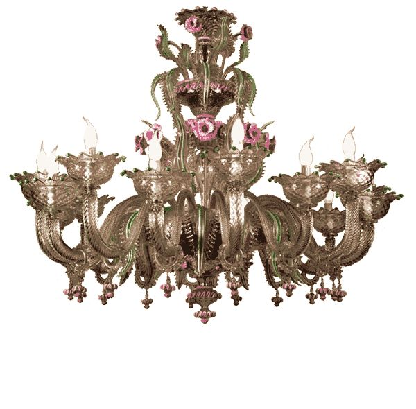 #lampadario #vetro #murano #rosa #verde. Lampadario in vetro di murano trasparente con pasta rosa e verde. Sistema con 16 luci. H. 110 cm – ø. 140 cm Disponibili su richiesta varianti di dimensioni e colori. > www.danielebiasin.it/portfolio-items/lampadario-in-vetro-di-murano-trasparente-con-pasta-rosa-e-verde/