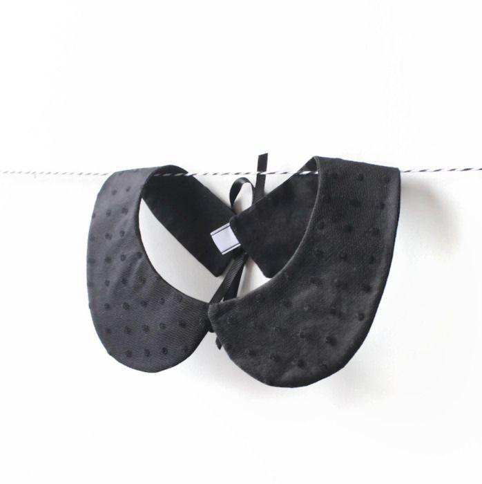 Col Claudine noir pois tulle plumetis, col de soirée, faux col amovible rétro, attache ruban