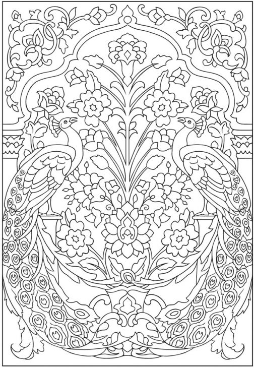 Advanced Pattern Coloring Pages : Amazing peacock pattern advanced coloring page for grown
