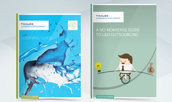 Sales and marketing brochure design, product brochure design and course literature design for client Thales Learning & Development
