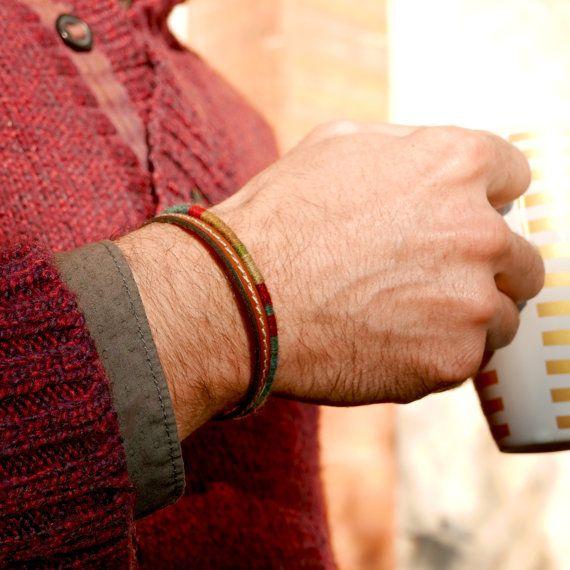 bijou pour hommes bracelet double cuir laine cadeau pour lui couleurs d 39 hiver bracelet. Black Bedroom Furniture Sets. Home Design Ideas