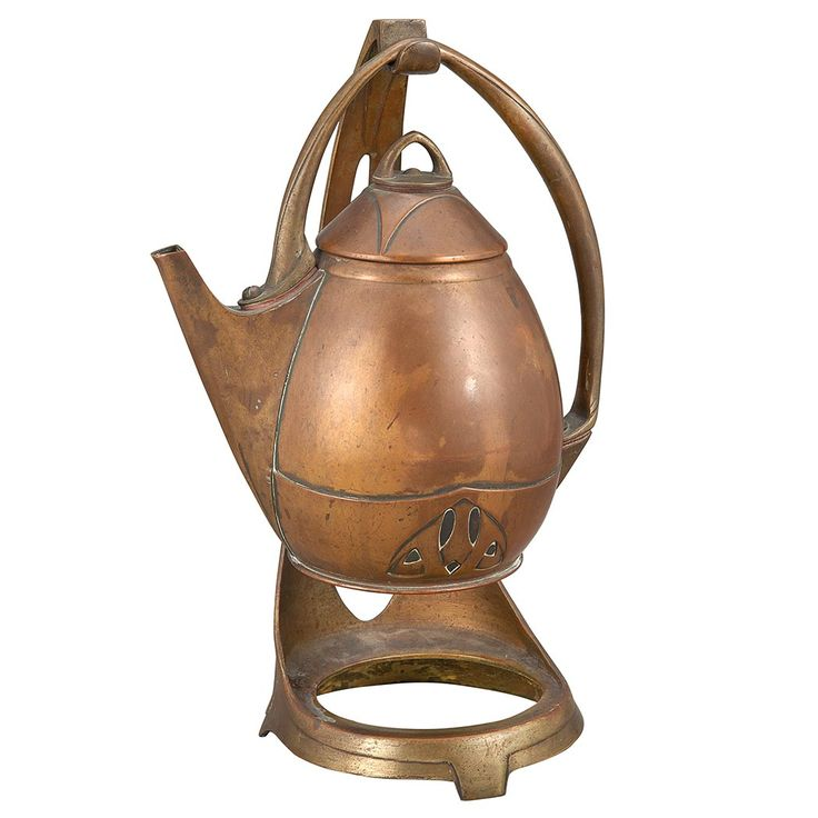 Albin Muller and Eduard Hueck Jugendstil Copper and Brass Hot Water Kettle on Stand  Early 20th century