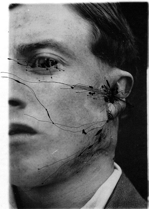 ashkan honarvar. faces.  [drawings over photos of men with facial injuries from war]