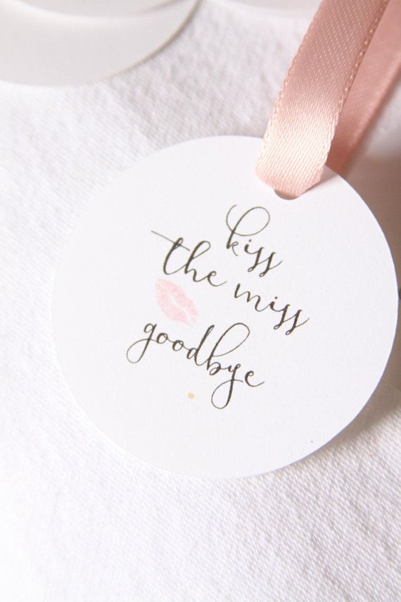 kiss the miss goodbye bridal shower favor tags lipstick favors rose gold thank you blush gift bachelorette party favor team bride label