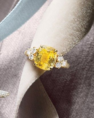 Yellow Sapphire Engagement Ring, Daria de Koning's cushion-cut yellow sapphire has the look of a canary diamond -- for less (dariadekoning.com).