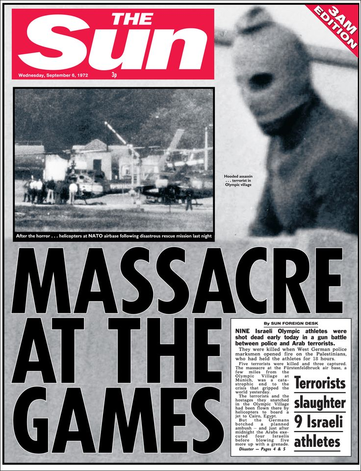 1972- Terrorist attacks at the Munich Olympics