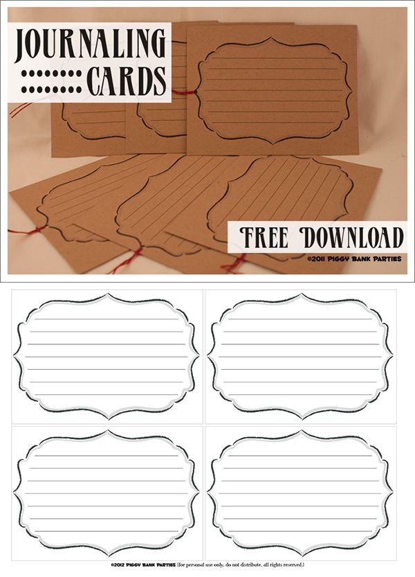 Free Printable Journaling Cards - use as labels also :)                                                                                                                                                                                 Mais
