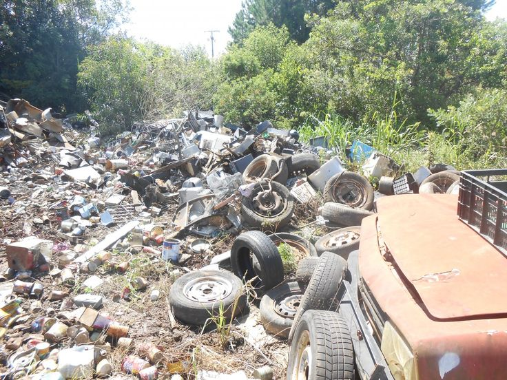 No local, que fica às margens da BR 153, foram encontrados diversos materiais, como tubos de televisor, pneus, vidros, latas e placas eletrônicas