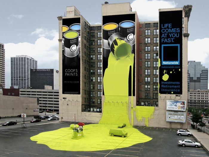 Extremely Clever Ads: Creative Noticed, Columbus Ohio, Building, Street Marketing, Coops Paintings, Street Art, Guerrilla Marketing, Billboard Design, Streetart