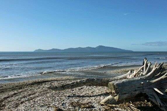 Kapiti Island from Queen Elizabeth Park beach, New Zealand.