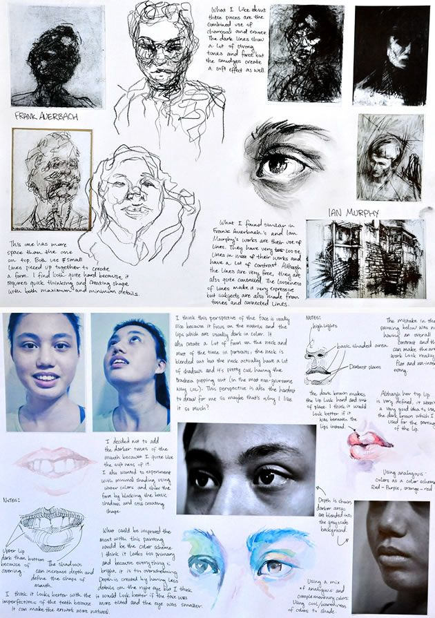 These sketchbook pages are an example of the artist analysis and experiment that Samantha completed as part of her GCSE exam project. The drawing and media trials demonstrate a level of technical skill and confidence that is well beyond her years.