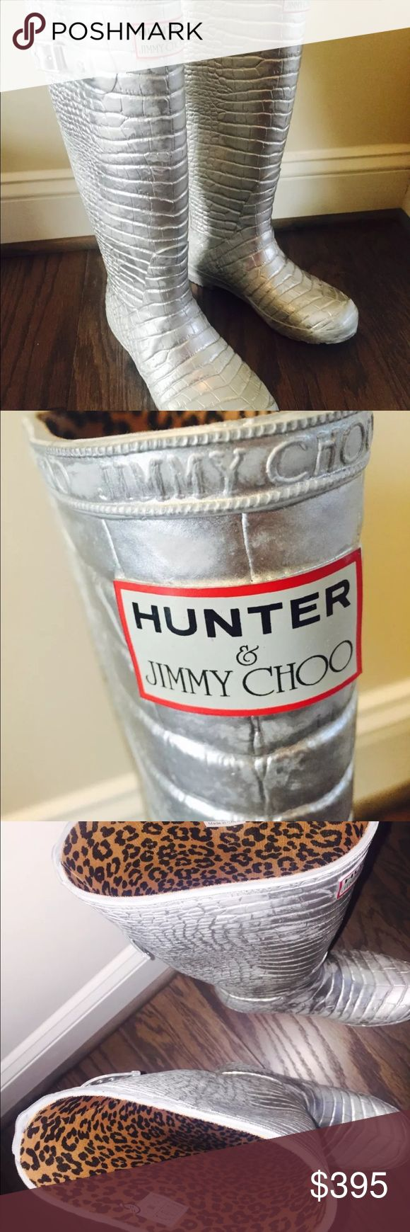 Brand New Jimmy Choo Hunter Rain boots Sold out!!! Sold out Jimmy Choo Hunter Rainboots Croc Silver Wellington US 8 new and never worn. Get them now in time for Fall and Winter! Hunter Boots Shoes Winter & Rain Boots