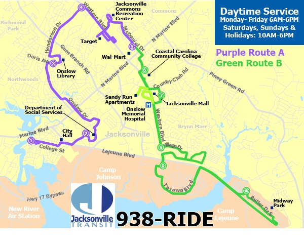 daytime service map  jacksonville transit