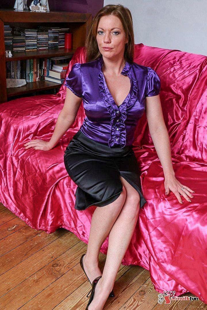 milf in satin blouse