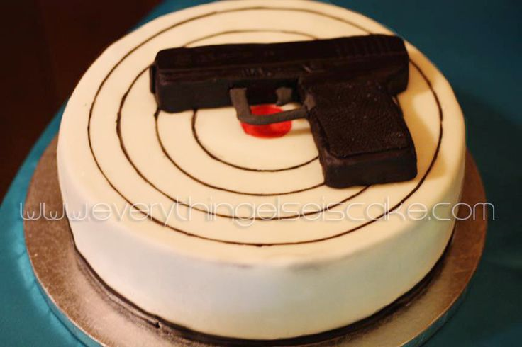 Gun Cake Decorating Ideas : Gun Cake I made this using rice crispy treats and black ...