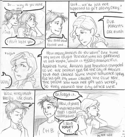 I like how Percy mentions pizza like its the best thing in the world. And then whenever they have meals on the Argo II Percy eats pizza. Percy never changed. :) Percy Jackson comic