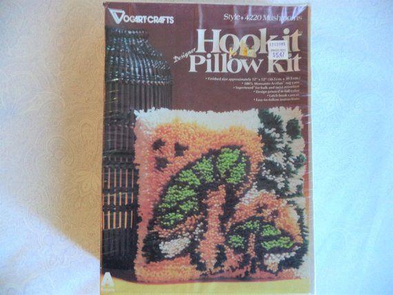 Mushroom Latch Hook Pillow Kit Vintage