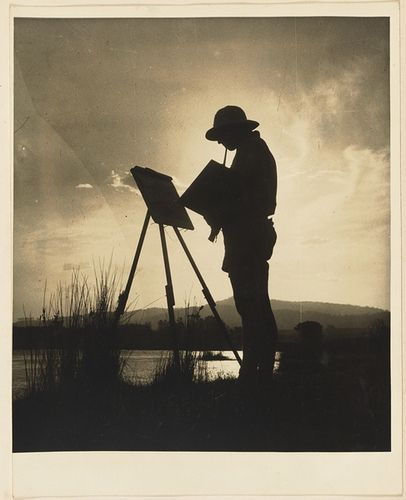 Woman painting at easel from Camping trips on Culburra Beach by Max Dupain and Olive Cotton