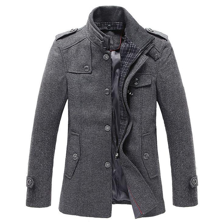 2016 Hommes Tranchée Manteau De Laine De Mode Long Mens Manteau D'hiver Tranchée…
