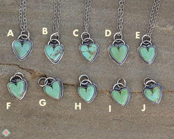 Turquoise Heart Necklace sterling zilveren door MockingbirdandMesa