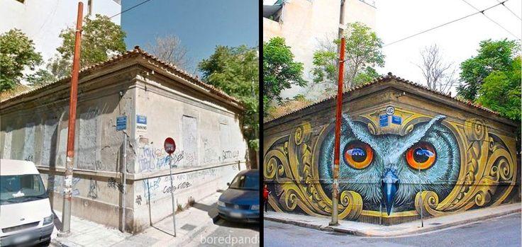 Arte urbana em Atenas, Grécia.  Quando a arte de rua, pode mudar para melhor