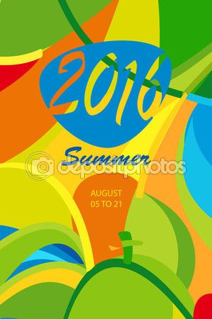 Hello RIO Summer 2016. Rio Olympic games 2016 Summer calligraphy abstract background. Brazil Summer colorful template. Summer wavy illustration. Vector — Stock Vector © sofiartmedia.gmail.com #114722620