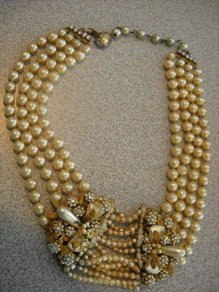 Signed Miriam Haskell early Baroque Pearls Rhinestone 4 Strand Necklace Jewelry | eBay